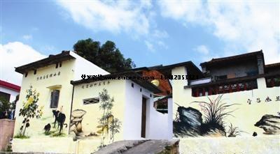 田园风光,农耕文化,友善茶山,梅兰竹菊等不同主题和风格的墙绘,让